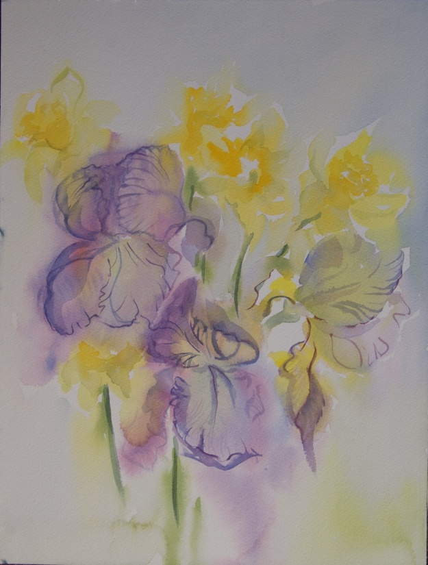 Watercolour of irises and daffodils