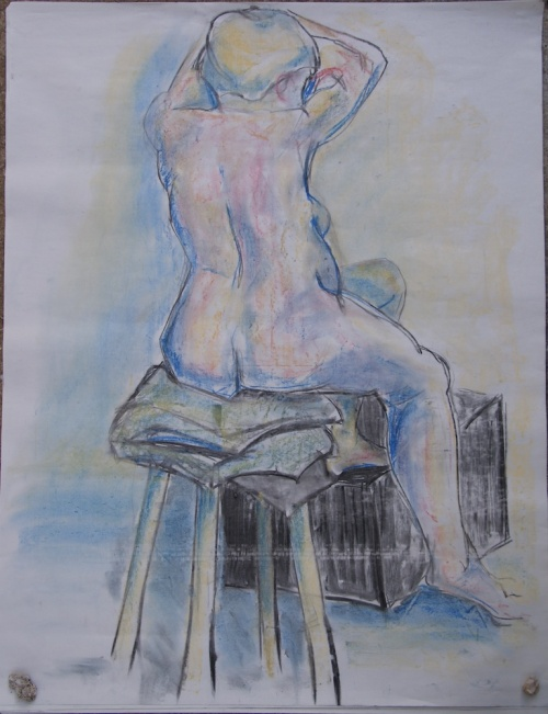 Nude figure drawing - charcoal and pastel sketch
